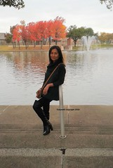 By the pond (Foxywalk) Tags: boots chinese asian heel black thighhigh overtheknee legging leather lady portrait