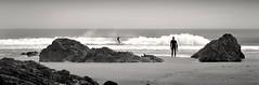 Surf Watching (Carolbreeze99) Tags: cornwall landscape surfing bude sea coast beach shore wave surf watching waiting silhouette action stillness movement bw monochrome blackwhite