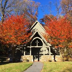 Garrison Forest chapel (karma (Karen)) Tags: garrisonforest owingsmills maryland baltimoreco chapels trees crepemyrtle fallcolor squared iphone topf25 4autumn