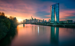European Central Bank (hpd-fotografy) Tags: ecb ezb europe europeancentralbank europischezentralbank frankfurt germany bluehour city cityscape longexposure reflection river skyline sunset water