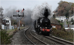 Black Fives on the Marches (Welsh Gold) Tags: black fives 44871 45407 1z47 birmingham international cardiff marches express charter pontrilas england wales border herefordshire steam engines semaphores signal box