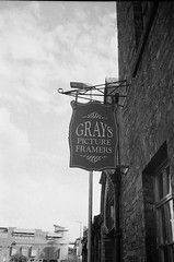 Grays (bigalid) Tags: film 35mm revuew 35fc haking ilford xp2 carlisle sign bw c41 september 2016
