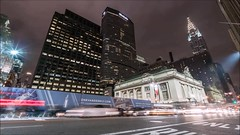 42nd Street Time Lapse (Michael.Lee.Pics.NYC) Tags: newyork 42ndstreet grandcentralterminal onevanderbilt chryslerbuilding night video timelapse lighttrail traffictrail motion sony a7rm2 voigtlanderheliar15mmf45