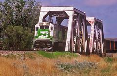 BN Houston Power & Light coal train-Bridger Jct, Wyoming. (Wheatking2011) Tags: bn burlington northern houston power light coal load passing through bridger jct wyoming may 22 1992 canyon subdivision