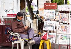 The Shoe Man, Queretaro (klauslang99) Tags: streetphotography klauslang queretaro mexico man person shoes stand sales newspapers