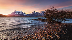 Wandering (beaugraph) Tags: lakepehoe patagonia chile torresdelpaine landscape pano mountains sunset