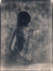 Thien Anh - Cyanotype 2 (patrickvandenbranden) Tags: 18x24 8x10 heliar alternativeprocess aquarelle bw beauté bodyart bokeh cyanotype feminity femme fineart grandformat largeformat noiretblanc nude pictorialist portrait studio tatoo toned vintage voigtlander30045 woman