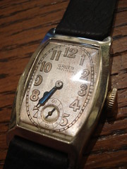 """1920'S GRUEN 14K GOLD ART DECO MID-SIZED WRISTWATCH. • <a style=""""font-size:0.8em;"""" href=""""http://www.flickr.com/photos/51721355@N02/14307164415/"""" target=""""_blank"""">View on Flickr</a>"""