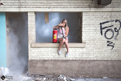 Oops! (ValentinWator) Tags: portrait girl photography photo factory photographie smoke picture graph extinguisher fille usine urbex extincteur