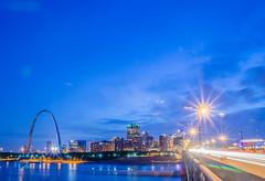 City of St. Louis skyline. Image of St. Louis downtown with Gateway Arch at twilight. (AgFineArtPhotography.com) Tags: city blue sunset sky usa reflection green monument water skyline architecture night skyscraper river illinois twilight streetlight cityscape arch waterfront purple dusk stlouis arc citylife nobody illuminated missouri gatewayarch mississippiriver tall urbanscene traveldestinations famousplace buildingexterior midwestusa builtstructure