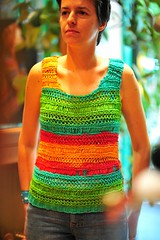 Eva is modeling her first knitting top (sifis) Tags: summer color nikon knitting top knit athens yarn greece cotton vest 85 lang handknitting  sakalak woolshop d700     sakalakwool