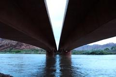 Colorado River Bridge (Jane Inman Stormer) Tags: road bridge reflection water night river evening utah twilight highway dusk coloradoriver moab underneath divided