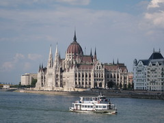 building of Parliament (VERUSHKA4) Tags: city travel blue roof summer sky cloud building beautiful architecture river boat europe hungary cityscape view centre famous capital budapest july bank parliament decor vue quai cupole hccity сanon