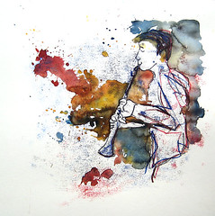 Clarinet (Tineke Lemmens) Tags: music prints watercolors clarinet tinekelemmens
