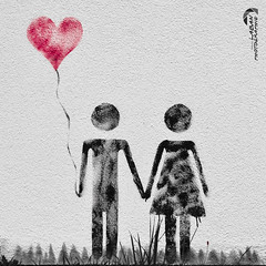 symbol L O V E (f1n3rip) Tags: red bw art love monochrome wall graffiti blackwhite heart kunst sw handinhand colorkeying schwarzweis