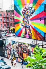 End of war kiss (Phg Voyager) Tags: street new york city nyc boy usa streetart newyork color art girl wall painting photography graffiti kiss war day outdoor sony tag a700 phgvoyager
