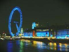 London Eye by night (FrankCFoto) Tags: uk blue summer england london night londoneye tamigi
