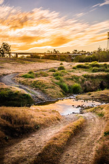 Gympie Gold (Matthew Post) Tags: longexposure winter sunset canon landscape post matthew australia hills queensland tamron haida tyretracks 6d deepcreek monkland leadinglines cooloola gympie 2875mm matthewpost goldfossickingarea