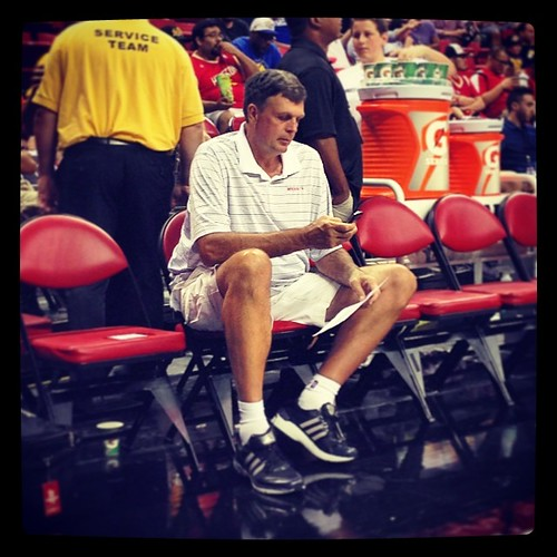Just Kevin McHale. Checking his phone. Peeping the latest K-Love rumors. Wondering what Dork Elvis is tweeting. Just a slob like one of us. #NBAsummerleague
