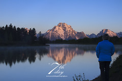 Woman at Oxbow Bend (Seventh day photography.ca) Tags: mountain sunrise river landscape scenery mt unitedstates snakeriver wyoming moran 2014 grandtetonnationalpark oxbowbend