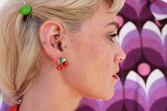 Ear Piercings (Maria Spadafora (@BloodyNoraDJ)) Tags: portrait fashion vintage fashionphotography makeup muse portraiture piercings bodyart tragus earpiercing pinna cherryearrings bodypiercings 60slook vintagematerial fronthelix