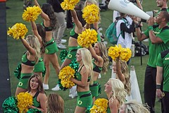 Cheers! (C.P. Kirkie) Tags: football cheerleading oregonducks duckfootball autzenstadium pac12 oregoncheerleader oregoncheerleading pac12football