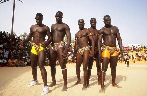 Black men wrestling