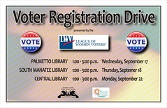 Voter Registration Drive @ the Manatee Libraries (Manatee County Public Library) Tags: county library libraries manatee govt manateecounty manateecountypubliclibrary manateecountypubliclibrarysystem manateelibrary manateecountylibrary librarycalendar mcpls manateecountygovernment wwwmymanateeorg
