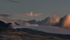Icelandic moon (jpw81) Tags: sunset cloud moon clouds landscape island evening mond iceland wolke wolken fullframe nikkor landschaft manualfocus 135mm gamewinner thechallengefactory fotocompetitionbronze sonya7