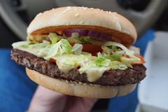 Big BBQ Bacon burger (petrusko.rm) Tags: food pen four prime burger olympus mcdonalds eat hamburger micro pancake mcd thirds ep3 17mm m43 mft