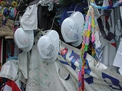 Helmets in memory, fence of St. Paul's July 2002. (sjnnyny) Tags: 911 artifacts helmetsinmemory sjnnyny stpaulslowermantattan