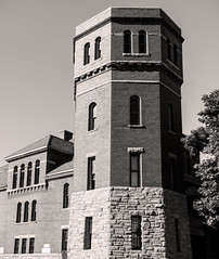 Hornell Armory Corner Tower (LJS74) Tags: hornellarmory hornell southerntier newyorkstate nys armory historicbuilding architecture blackandwhite bw monochrome stitchedpanorama