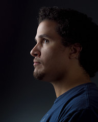 Me (Photography by XO) Tags: portrait selfportrait selfie lowkey headshot me curlyhair retouch man photographer photoshop blueshirt goatee browneyes studio thundergray nikond7200 50mm beautydish curls texture profile