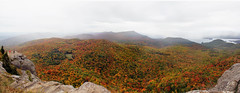 You were once wild here, don't let them tame you. (jang_jennifer) Tags: adirondacks mountains george newyork lakegeorge upstate ny fall autumn foliage nature panorama rain rainstorm climbing fog rainy colors red green yellow forests trees hiking canon t2i manualfocus clift