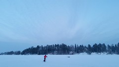 Cold winter day (sakarip) Tags: sakarip finland tuusula woman lake snow ice winter cold freezing skiing january