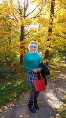 Autumn In Wisconsin (Laurette Victoria) Tags: laurette woman skirt sweater silver purse milwaukee wisconsin jacobuspark autumn