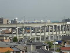 Tall railway viaduct (seikinsou) Tags: japan osaka autumn jr railway train kix kansai airport haruka viaduct stilt track