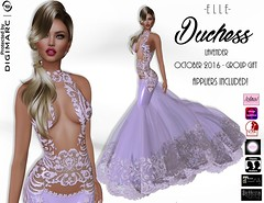 -E L L E- Duchess Lavender - October 2016 Group Gift (AdelleBelle) Tags: elle mesh body applier omega tmp belleza slink maitreya formal elegant evening dress long platinum group special edition second life sl gift