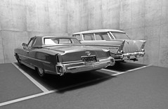 American Car Parking. (ManOfYorkshire) Tags: 118 scale diecast model models anson matchbox bw blackwhite garage parking diorama chevy nomad stationwagon cadillac eldorado 1973 car cars american automobile usa chrome fins