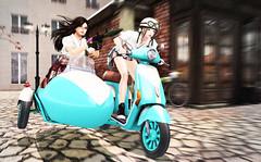 chase 1 (prettynontan) Tags: sidecar bike action run nea tsu rpg7 belleza venus secondlife sl school uniform girls