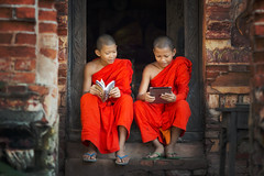 Two Buddhist novice are learning a knowlegd in temple . (visootuthairam1) Tags: asia asian book boy buddhism cambodia children classroom culture education face happy indigenous indonesia kids laos learning lesson lifestyle local luang malaysia monastery monk myanmar national nationality nepal nepalese novice people poor prabang religion religious rural rustic school student study tantric thai thailand tibet tibetan tradition traditional vietnam young
