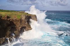 Manzamo big waving (koshichiba) Tags: manzamo okinawa japan pacific seaside rock squirt splash typhoon yomitan seascape storm east sky clouds surf wind breeze