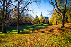Recitation Hall (Fresh Perspective with a Twist) Tags: fall trees leaves autumn morning sun building grass landscape