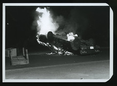 NIU Auto Burning during student protests, May1970 (Regional History Center & NIU Archives) Tags: boycott demonstration protest niu northernillinoisuniversity student activism