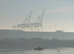 Fog over the port (Puerto De Liverpool.) Tags: fog liverpooldocks theportofliverpool crosbymarina speedboat cranes weather liverpool merseyside uk england