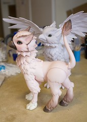 Painting the wings (~Akara~) Tags: faceup face up body blushing pastels fairyland fairy land fl fairyline rus hippogriff painted