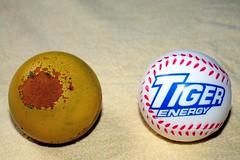 My Old and New Stress Balls (joelCgarcia) Tags: sb600 cls stressballs d700 2485mmf3545gvr tigerenergystressball smileystressball
