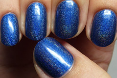 Glitzkrieg War Paint Atlantic Blue (http://thepolishedhippy.blogspot.com) Tags: blue swatch war paint nail polish indie etsy shimmer linear holographic varnish swatches lacquer glitzkrieg holo
