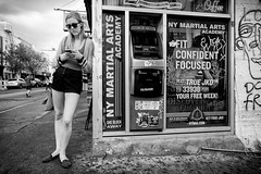 Another corner. Another txtr (mkc609) Tags: street nyc newyorkcity urban blackandwhite bw ny newyork brooklyn blackwhite candid streetphotography willamsburg