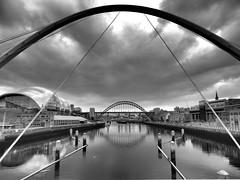 Millenium Bridge Newcastle (stevieboy2343) Tags: bridge blackandwhite bw river newcastle mono millenium sage tyne gateshead